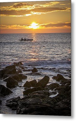 Paddlers At Sunset Portrait Metal Print