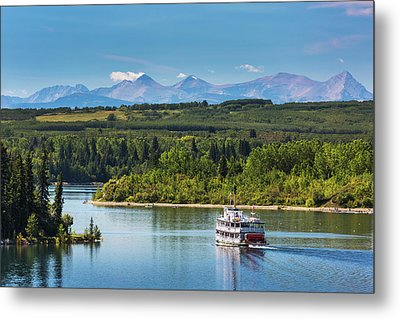 Paddlewheel Boat On Lake With Tree Metal Print by Michael Interisano