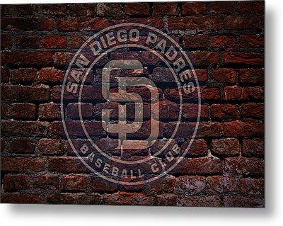 Padres Baseball Graffiti On Brick  Metal Print