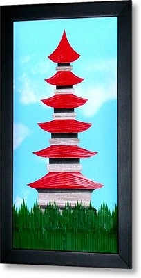 Metal Print featuring the mixed media Pagoda by Ron Davidson