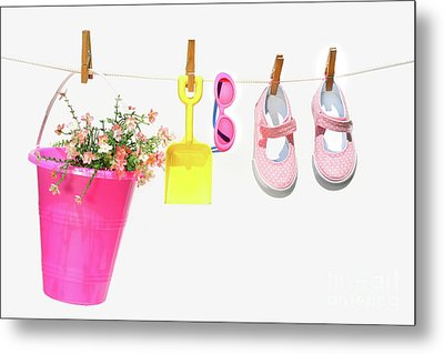 Pail And Shoes On White Metal Print by Sandra Cunningham
