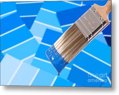 Paint Brush - Blue Metal Print by Amanda Elwell