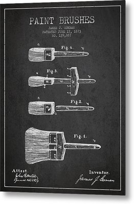 Paint Brushes Patent From 1873 - Charcoal Metal Print