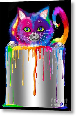 Paint Can Cat Metal Print