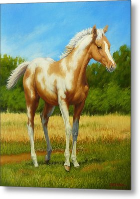 Metal Print featuring the painting Paint Foal by Margaret Stockdale