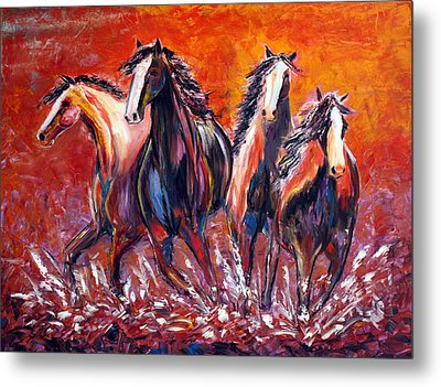 Metal Print featuring the painting Paint Horse Stampede by Jennifer Godshalk
