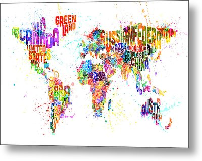 Paint Splashes Text Map Of The World Metal Print by Michael Tompsett
