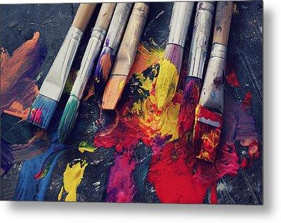 Paintbrushes  Metal Print by Bella  Harris