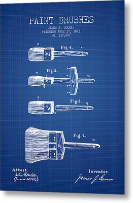 Paintbrushes Patent From 1873 - Blueprint Metal Print