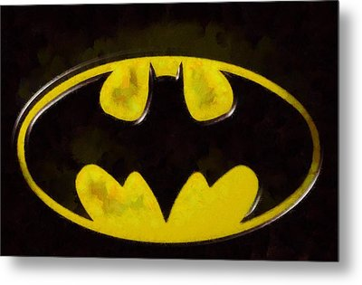 Painted Batman Logo Metal Print by Dan Sproul