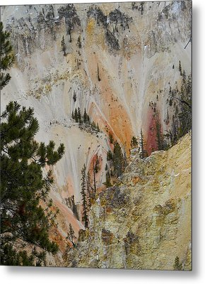 Metal Print featuring the photograph Painted Canyon At Lower Falls by Michele Myers