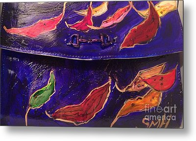 Painted Clutch Purse Titled Fallen Into Place Metal Print by Sherry Harradence