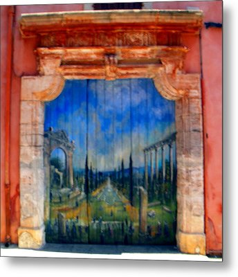 Painted Door In Roussillon Metal Print