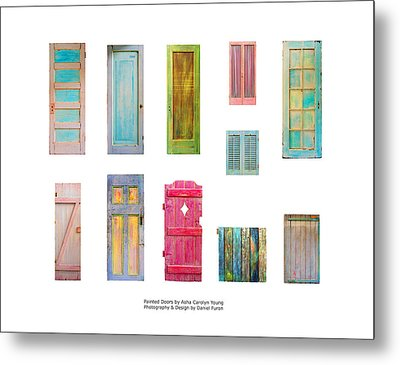 Painted Doors And Window Panes Metal Print by Asha Carolyn Young and Daniel Furon