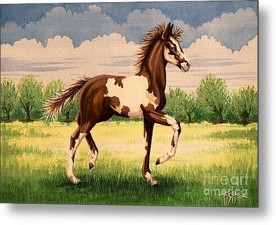Painted Foal Metal Print by Tish Wynne