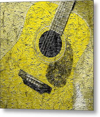 Painted Guitar - Music - Yellow Metal Print by Barbara Griffin