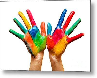 Painted Hands On White Metal Print by Michal Bednarek