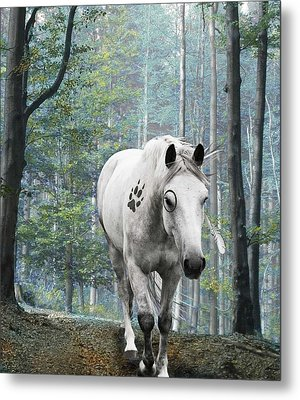 Painted Horse Metal Print by Diana Shively