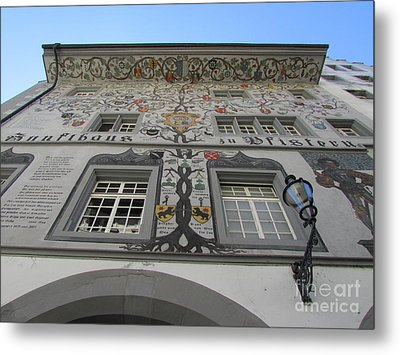 Metal Print featuring the photograph Painted House On The Rathaussteg by Art Ina Pavelescu