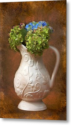Painted Hydrangeas Metal Print by Trina  Ansel