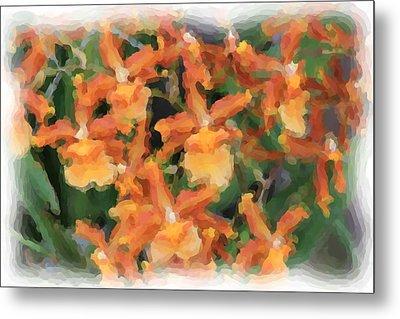 Painted Orchids Metal Print by Rosalie Scanlon