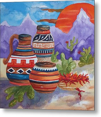Painted Pottery And Chili Peppers Square Metal Print