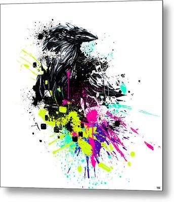 Painted Raven Metal Print by Jeremy Scott