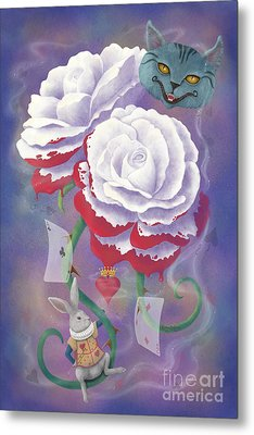 Painted Roses For Wonderland's Heartless Queen Metal Print by Audra D Lemke