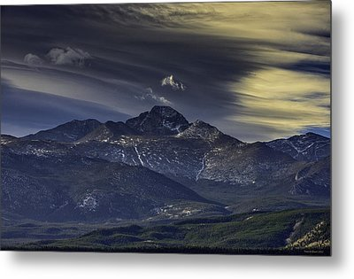 Painted Sky Over Longs Peak Metal Print by Tom Wilbert
