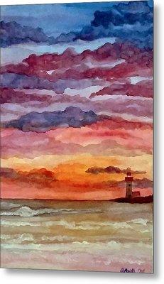 Painted Sky Over Ocean Metal Print