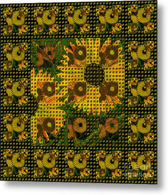 Painted Sunflower Abstract Metal Print