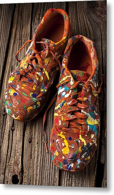 Painted Tennis Shoes Metal Print by Garry Gay