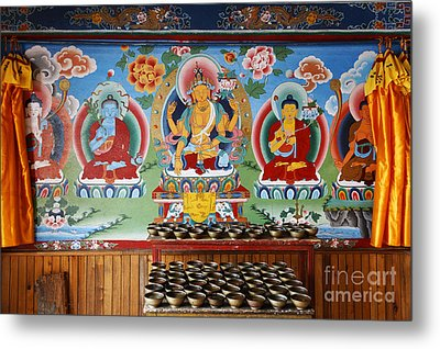 Painted Walls At The Buddhist Phodong Monastery In Sikkim India Metal Print by Robert Preston