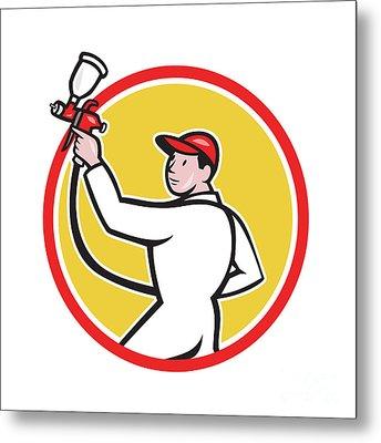 Painter Spray Paint Gun Side Circle Cartoon Metal Print by Aloysius Patrimonio