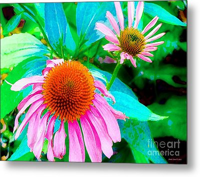 Painterly Coneflowers Metal Print