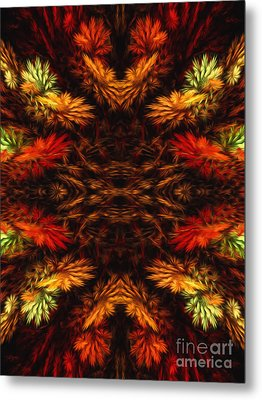 Painterly Fall Fractal Abstract  Metal Print