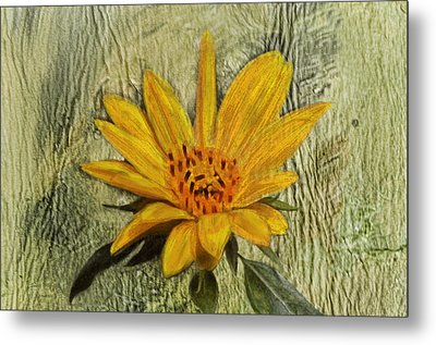 Painterly Sunflower Metal Print