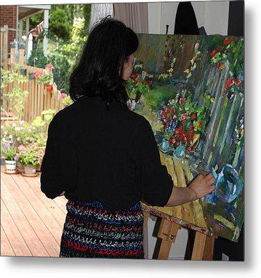 Painting My Backyard 2 Metal Print by Becky Kim