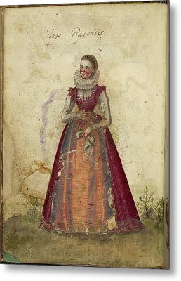 Painting Of A Woman Metal Print by British Library