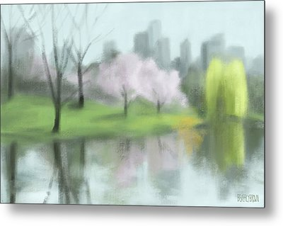 Painting Of Central Park In Spring Metal Print by Beverly Brown
