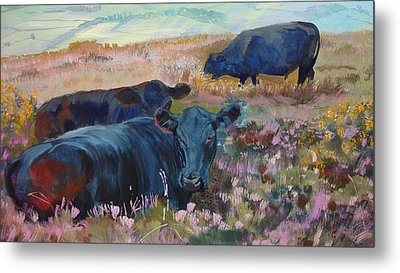 Painting Of Three Black Cows In Landscape Without Sky Metal Print
