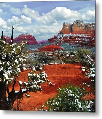 Painting Secret Mountain Wilderness Sedona Arizona Metal Print
