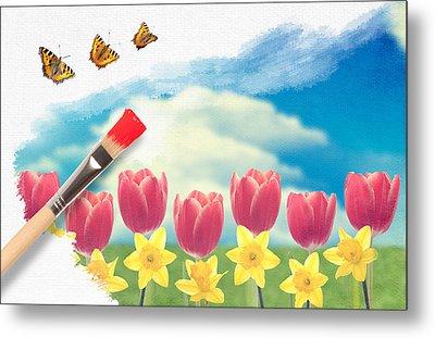Painting Tulips Metal Print by Amanda Elwell