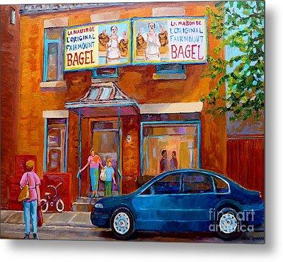 Paintings Of Montreal Fairmount Bagel Shop Metal Print by Carole Spandau