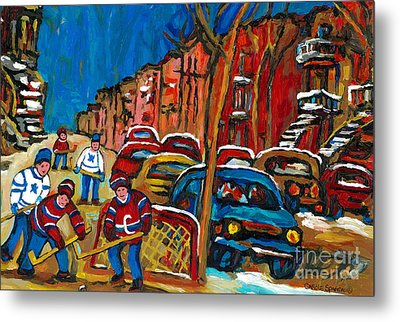 Paintings Of Montreal Hockey City Scenes Metal Print