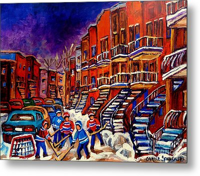 Paintings Of Montreal Hockey On Du Bullion Street Metal Print by Carole Spandau