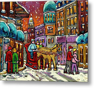 Paintings Of Old Quebec Magical Vieux Port Montreal City Scenes Caleche In Winter Carole Spandau Metal Print by Carole Spandau