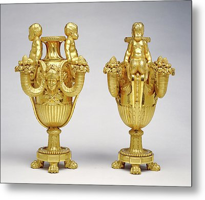 Pair Of Candelabra Attributed To Pierre Gouthière Metal Print by Litz Collection