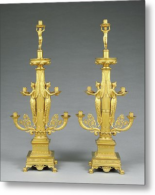 Pair Of Candelabra Designed By Filippo Pelagio Palagi Metal Print by Litz Collection