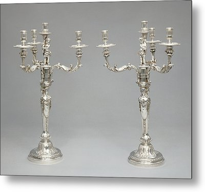 Pair Of Candelabra Robert-joseph Auguste, French Metal Print by Litz Collection